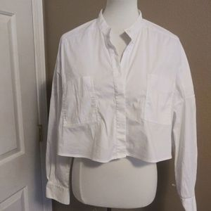 BCBGMaxAzria Crop Button Up Blouse